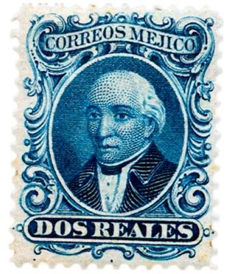 primera estampilla postal en mexico